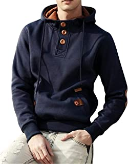 FSSE Men's Patchwork Casual Solid Color Gym Workout Hoodie Pullover Hooded Sweatshirt