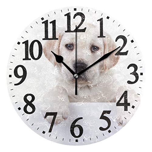 Emoya 24 cm Runde Wanduhr Old Labrador Retriever Welpe Hund Holz Rund Deko Wanduhr