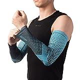 HYSENM unisex manicotti ad asciugatura rapida, scaldini del braccio, altamente elastico, traspirante anti-UV UPF50 + sport all'aria aperta, Blu L/XL