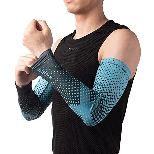 HYSENM Unisex Schnelltrocknende mehrfarbige Ärmlinge Armstulpen hochelastisch AtmungsaktiveAnti-UV UPF50+ Radfahren Outdoor-Sport, Blau L/XL