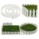 SUPEWOLD 1M Miniatur Garten Zaun, Miniatur Holz Zaun Fairy Garten Set Terrarium Porzellanpuppe Haus DIY Zubehör Dekor - Weiß, 100x3cm