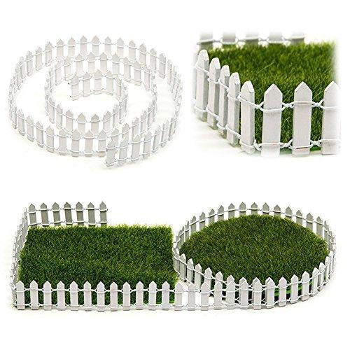 SUPEWOLD 1M Miniatur Garten Zaun, Miniatur Holz Zaun Fairy Garten Set Terrarium Porzellanpuppe Haus DIY Zubehör Dekor - Weiß, 100x5cm