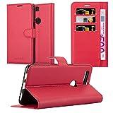 Cadorabo Hülle für OnePlus 5T - Hülle in Karmin ROT – Handyhülle mit Kartenfach & Standfunktion - Hülle Cover Schutzhülle Etui Tasche Book Klapp Style