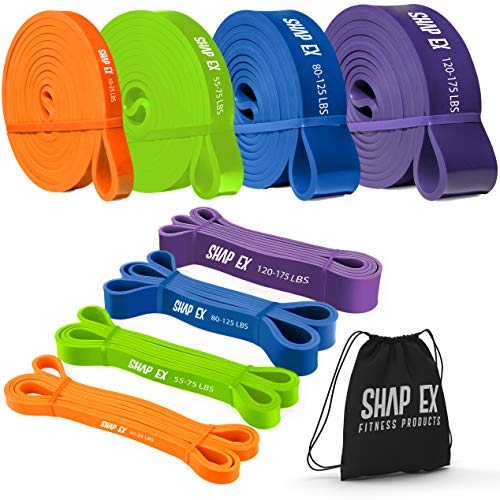 ShapEx Set of 4 Pull Up Bands-Heavy Duty Pull Up Workout Bands, Perfect Resistance Bands for Body Stretch, Physical Therapy, Home Workouts,Powerlifting,Fitness and Weight Training,Yoga (Set of 4 Bands (Orange, Green, Blue, Purple)) by SHAPEX