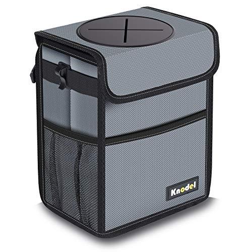 Knodel Car Trash Can, Waterproof Auto Garbage Bag, Car Trash Can with Lid, Leak-Proof Car Storage Bag, Auto Garbage Bag Hanging (Medium, Gray)