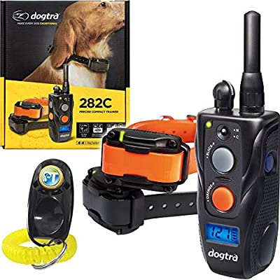Dogtra 282C 2-Dogs Remote Training Collar - 1/2 Mile Range, Waterproof, Rechargeable, Static, Vibration - Includes PetsTEK Dog Training Clicker