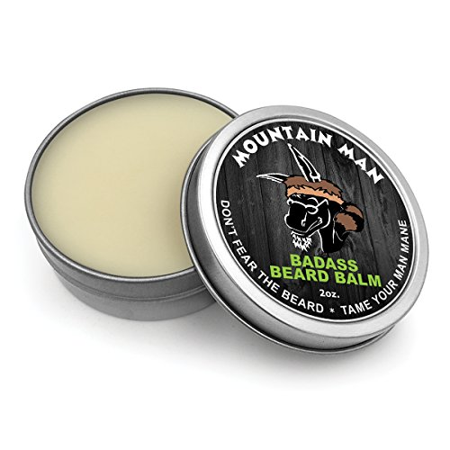 (Mountain Man, 60ml) - Badass Beard Care Beard Balm - Mountain Man Scent, 60ml - All Natural Ingredients, Keeps Beard and Moustache Full, Soft and Healthy, Reduce Itchy and Flaky Skin, Promote Healthy Growth