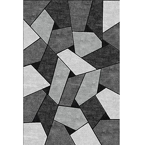 Alfombra Salon Alfombra de salón Gris Simple geométrico Moderno Moderno Dormitorio Duradero resbalón Gris alfombras de Pelo para habitacion 80x160cm alfombras Entrada casa 2ft 7.5''X5ft 3''