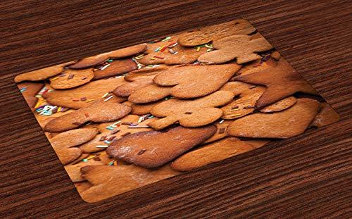 ABAKUHAUS Plätzchen Platzmatten, Herz und Blume geformt Ingwer Honig gewürzte Süßigkeiten mit Streusel, Tiscjdeco aus Farbfesten Stoff für das Esszimmer und Küch, Zimt Sand Brown Ingwer