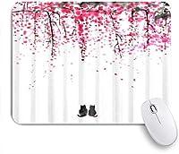 NIESIKKLAマウスパッド 桜の絵の下のオリエンタル猫子猫 ゲーミング オフィス最適 おしゃれ 防水 耐久性が良い 滑り止めゴム底 ゲーミングなど適用 用ノートブックコンピュータマウスマット