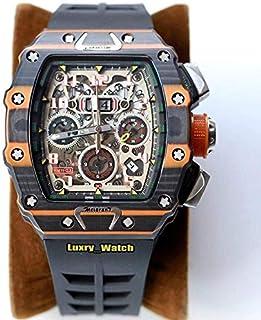 CHQSMZ - Relojes mecanicos Nuevo Reloj Mecánico De Zafiro Mecánico De Fibra De Carbono Reloj Negro Naranja De Diseño De Goma Relojes De Diseño