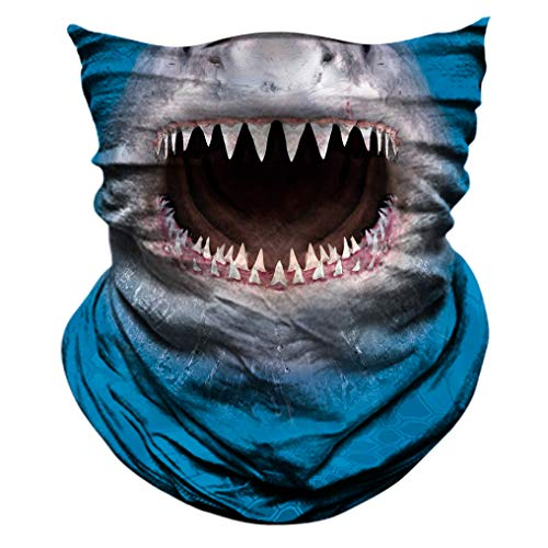 2 Pack - 3D Animal Neck Gaiter Scarf Bandana Face Mask Seamless UV Protection for Motorcycle Cycling Riding Running Fishing Hiking Conoeing Shark