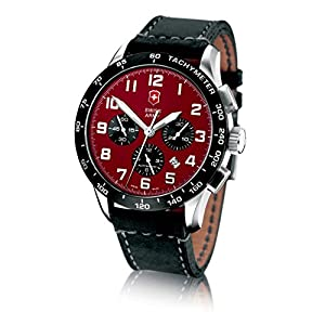 Victorinox Swiss Army Men's 24785.1000 Airboss Mach 6 Black Leather Automatic Chronograph Red Dial Watch image
