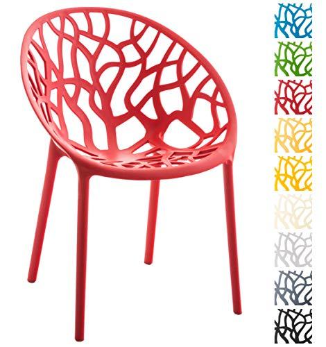 CLP Gartenstuhl Hope aus Kunststoff I Wetterbeständiger Stapelstuhl mit Einer max. Belastbarkeit von 150 kg I erhältlich, Farbe:rot