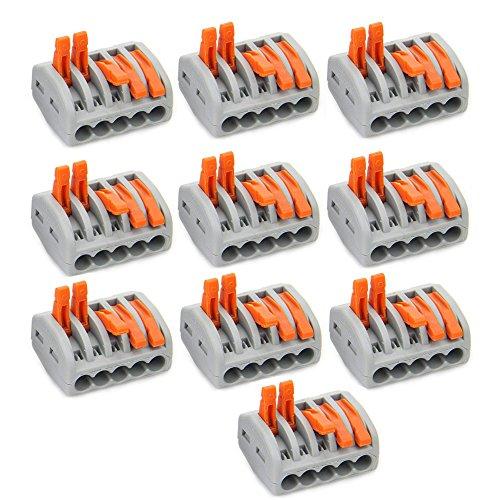 5-Port-Hebel, Leiter-Kompaktverbinder, Klemmleiste, Draht-Druckkabelverbinder, 10 Stück
