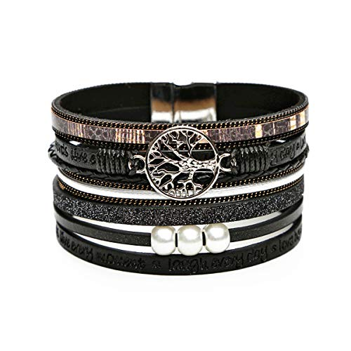 UREAR Multilayer Leather Cuff Bracelets, Tree of Life Wrap Bangle Wrist Braided Magnetic Casual Fashion Bracelet Charms Jewelry Gift for Women Teen Girls (Black)