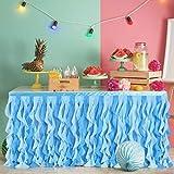 NSSONBEN Falda de mesa de tul, color azul, para fiesta de bebé, boda, cumpleaños, 275 cm de largo x 76 cm de alto