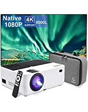 Gobran Projector Native 1080P, 8000L Full HD Video Mini Projector, Protable Projector for Outdoor Movie 4K Supported with 50000 Hrs LED lamp Life, Compatible with TV Stick,HDMI,VGA,TF,AV USB and PS4