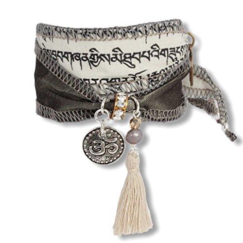 Anisch de la Cara Damen Armband Wind Norbu - Tibetan Wish Wunscharmband aus tibetischen Gebetsfahnen mit Achat Norbu Wish - ArtNr. 3360-w