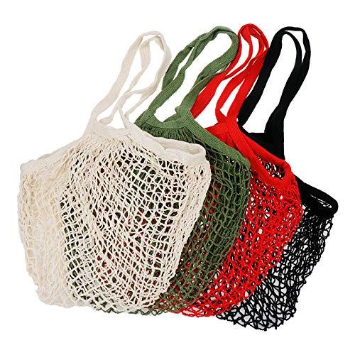 S SYDIEN Einkaufstasche aus Baumwolle in 4 Farben, 4 Stück, aus natürlicher Baumwolle, Netzstoff, Organizer für Lebensmitteleinkäufe, Strand, Obst, Spielzeug (schwarz, rot, grün, beige)