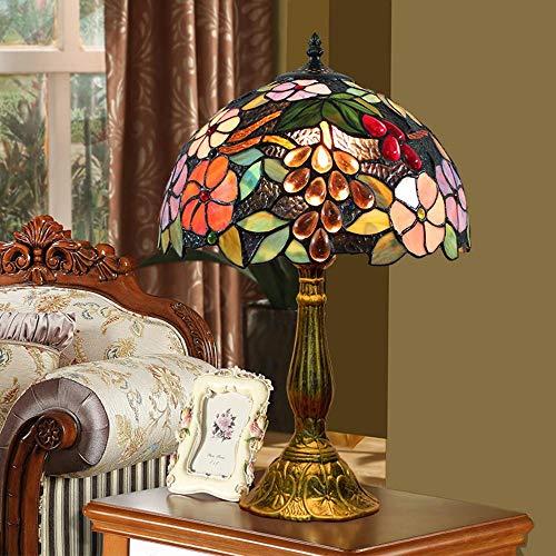 WSJTT Lámpara de escritorio de estilo europeo creativo Tiffany lámpara de mesa de cristal manchado sala de estar comedor dormitorio mesita de noche lámpara bar jardín uva retro mesa luz 30 x 48 cm