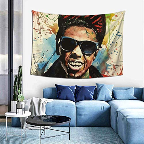 Hdadwy Hip Hop Music Lil Wayne Tapestry 60x40 Inch for Living Room Bedroom Dorm Art Decor Adult and Kids Gift Boutique Tapestry Hd Printing