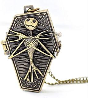 Skull Bone Nightmare Before Christmas Pocket Quartz Watch Necklace Chain
