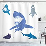 Ambesonne Shark Shower Curtain, Grunge Style Big and Small Sharks with Open Mouths Predator Jaws Dangerous Image, Cloth Fabric Bathroom Decor Set with Hooks, 75' Long, Blue