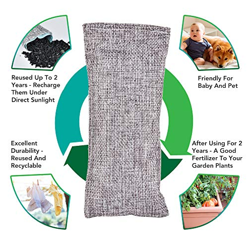 Bamboo Charcoal Odor Eliminator Bag (10-Pack), Activated Charcoal Odor Absorber, Natural Freshener Removes Odors and Moisture, Odor Eliminator for Home, Pets, Car, Closet, Basement, RV