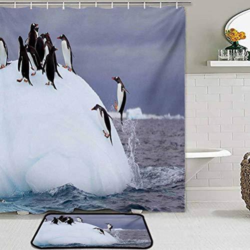 ParadiseDecor Children Play Dormitory Home Decor Rug Underwater,Gentoo Penguin On Iceberg Freezing Wilderness Antarctic Landscape Print,White Blue Grey for Living Room Kid Girls Carpets Home Bed