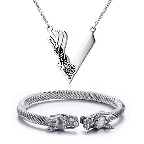 VNOX Herren Edelstahl Viking nordischen Schmuck Sets Viking Drachen Twist Bangle + Viking Halskette