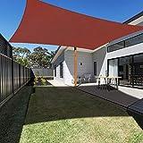 Ankuka 2 x 3 Metri Tenda a Vela, Rettangolo Tendalino Parasole da Giardino e Patio, Protettiva Sole Raggi 98% UV, Completa di Corda, Rosso Ruggine