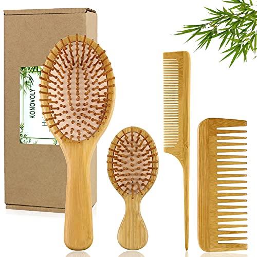 4PCS Cepillo de Pelo, cepillo madera,peine desenredante de masaje con peine de dientes anchos para cabello fino rizado, cepillo antitirones juego de peines adecuado para mujeres hombres niños