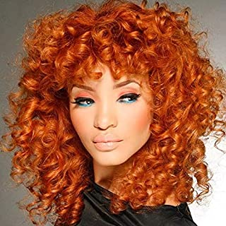 Orange Short Curly Hair Wigs for Women Andromeda Afro Kinky Curly Heat Resistant Synthetic Fiber Hair Wigs for African American Black Women (Orange)