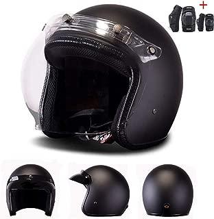 Retro 3/4 Open Face Jet Moped Motorbike Cafe Racer Custom Bobber Helmets Adult Motorcycle Jet Touring Light Weight Helmet DOT Approval