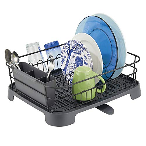 mDesign Large Kitchen Countertop, Sink Dish Drying Rack with Removable Cutlery Tray and Drainboard...