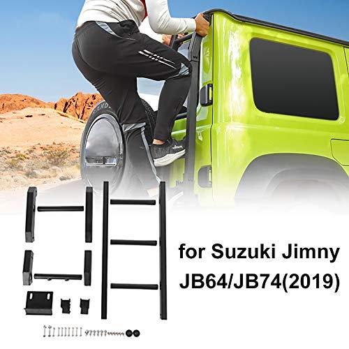 Escalera de techo de puerta trasera de aleación de aluminio,escalera de techo de puerta trasera trasera modificada a campo traviesa para S-uzuki Jimny JB64 JB74,fácil de instalar sin perforar,Upgraded
