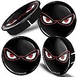 SkinoEu® 4 x 60mm Universal Tapas de Rueda de Centro No Fear Eyes Tapacubos para Llantas Coche C 40