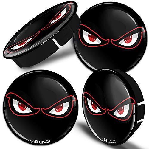 SkinoEu 4 x 60mm Universal Tapas de Rueda de Centro No Fear Eyes Tapacubos para Llantas Coche C 40