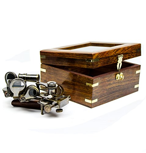 """Nagina International White Starline 5"""" Premium Nautical Brass Sextant with Deluxe Rosewood Crafted Glass Case 