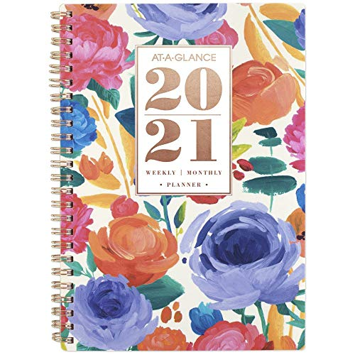 Academic Planner 2020-2021, AT-A-GLANCE Weekly & Monthly Planner, 5-1/2u0022 x 8-1/2u0022, Small, Badge Floral (5408F-200A)