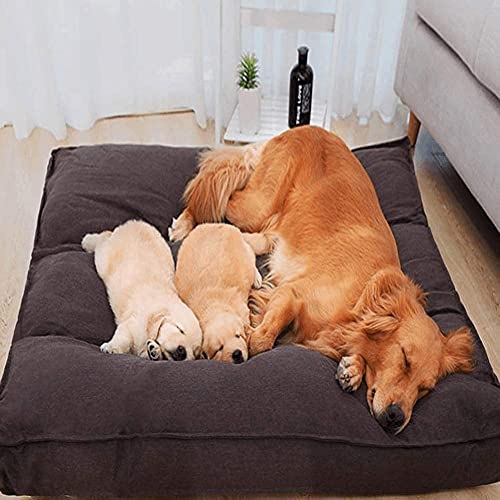 JLKDF Extra Large Dog Bed Sofa Detachable Washable Pet Nest Warm Thick Sleep Blanket Cushion Mattress for Large Dogs,Rectangle kennel Cat Cave,Soft Comfy 120 * 120cm