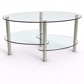 JedaJeda Coffee Table Shelf Tempered Clear/Black Glass Oval Side Chrome Base Living Room (Glass)