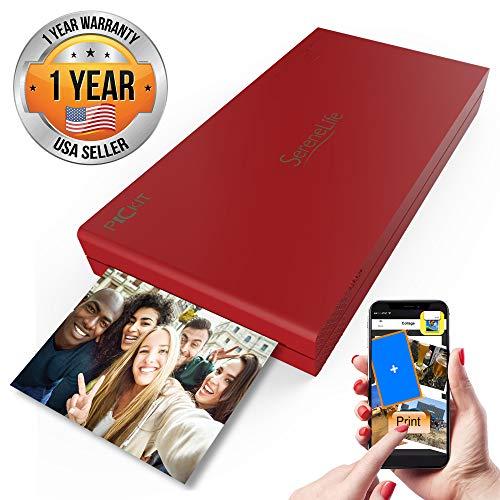 Serenelife - Impresora de Fotos Portátil Instantánea Wireless Color Imagen Impresión para iPad o Android Funda Para Cámara de Smartphone - pickit21rd (rojo)