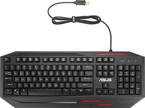Asus GK100 beleuchtete Gaming Tastatur (kabelgebunden, programmierbar, wasserdicht, Anti Ghosting, deutsches Layout) schwarz