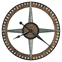 Howard Miller Buster Gallery Wall Clock 625-709 – Charcoal Finished Metal Frame, Distressed Wooden Ring, Steel Details, Rustic Home Décor, Quartz Movement