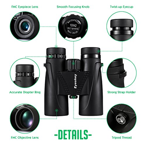 Eyeskey Classic HD 10x42 Binoculars for Adults | Waterproof Fog Proof | BAK4 Roof Prism | FMC Lenses | Professional Binos for Outdoor Hunting Hiking Nature Watching Sports Events and Concerts …