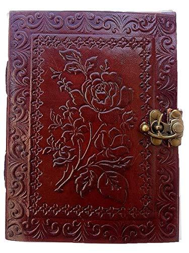 Jaald 20 cm Libreta Notas Cuaderno Hojas Diario Album Hecho a Mano con Cubierta de Cuero Cerrojo Rosas Regalo Romantico Novia