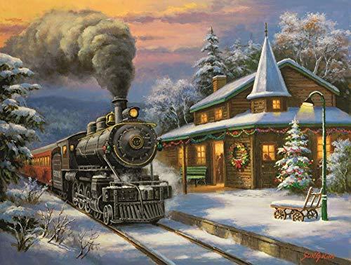 Schilderij door nummers Sneeuw Rail Trein DIY Canvas Olie Schilderij Kit voor Kinderen Volwassenen Acryl Tekenen Schilderij met Penselen Pictures Arts Woonkamer Decoratie (16x20inch)