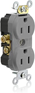 Leviton TCR15-GY Side Wired Commercial Spec Grade Tamper Resistant Duplex Receptacle, 15-Amp, 125-volt, Gray